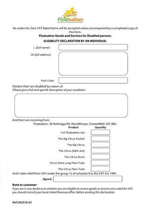 Image of the VAT Exemption form